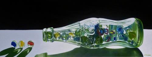 Valentin Reimann, Glasflasche, Dekoratives, Stilleben, Realismus, Expressionismus