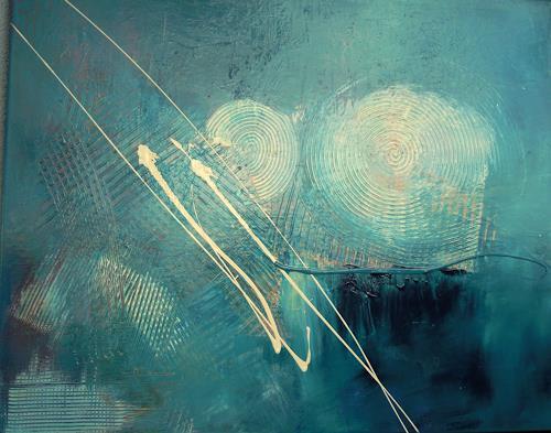 Ingrid Kainz, Türkis -Weiss, Abstraktes, Abstrakte Kunst