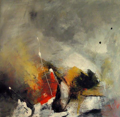 Ingrid Kainz, Kaminfeuer, Abstraktes, Abstraktes, Abstrakte Kunst, Expressionismus
