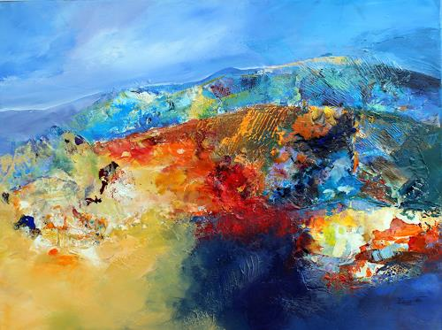 Ingrid Kainz, Bunte Gebirgswelt, Abstraktes, Landschaft: Berge, Abstrakte Kunst