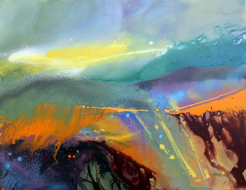 Ingrid Kainz, Steirische Weinlandschaft 1, Diverse Landschaften, Abstrakte Kunst