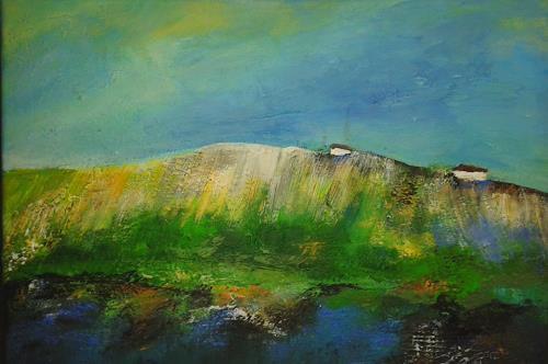 Ingrid Kainz, Gebirgssee, Landschaft: See/Meer, Landschaft: Hügel, Abstrakte Kunst