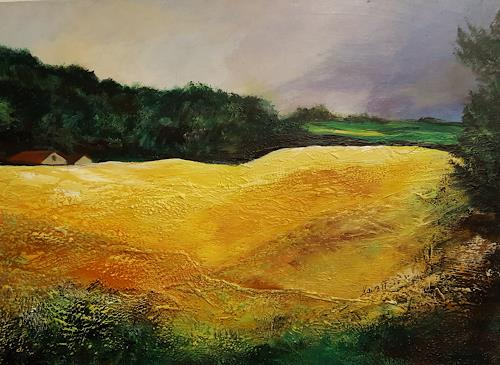 Ingrid Kainz, Kornfeld, Landschaft: Ebene, Landschaft: Frühling, Land-Art, Expressionismus
