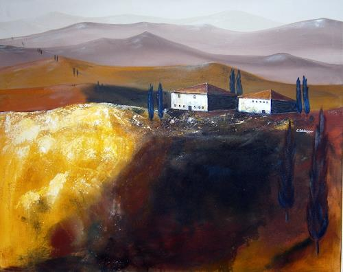 Cäcilia Schlapper, Toscana VI, Landschaft: Hügel, Gegenwartskunst, Expressionismus