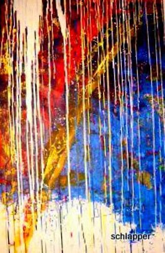 Cäcilia Schlapper, Schüttbild Bogen yello j2010, Abstraktes, Abstrakte Kunst, Moderne