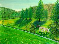 Frank-Ziese-Landschaft-Berge-Tiere-Land-Moderne-Impressionismus
