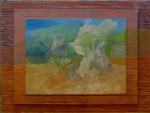 Sebastian Burckhardt, Wolkenfiguren über Landschaft, Abstraktes, Diverses, New Image Painting