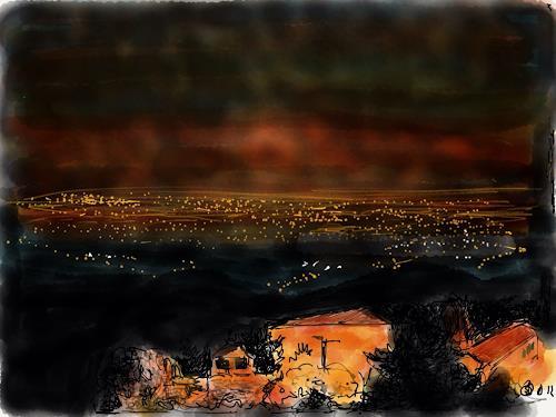 Sebastian Burckhardt, Vor dem Fest, Landschaft: Berge, Gesellschaft, New Image Painting, Expressionismus
