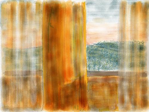 Sebastian Burckhardt, Blick aus Fenster 2, Landschaft: Hügel, Gesellschaft, New Image Painting