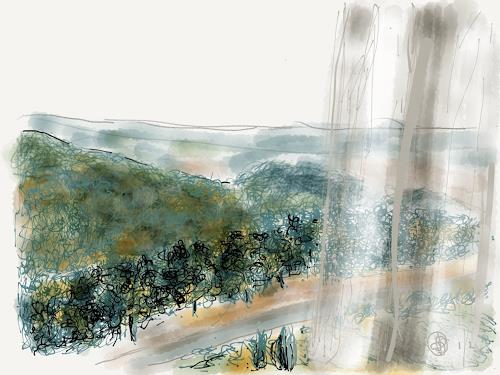 Sebastian Burckhardt, Blick aus Fenster 3, Landschaft: Hügel, Diverse Wohnen, New Image Painting