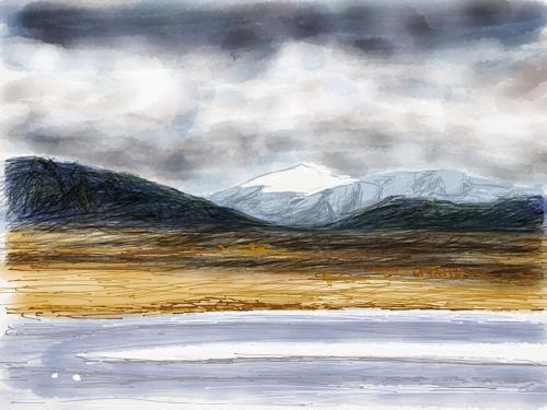 Sebastian Burckhardt, Tibet Landscape 1, Landschaft: Berge, Gesellschaft, New Image Painting