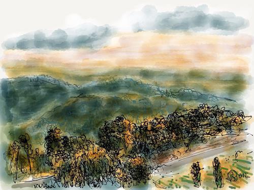 Sebastian Burckhardt, On the Way, Landschaft: Hügel, Diverses, New Image Painting