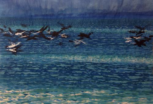 Sebastian Burckhardt, Sea and Birds Waves Coming, Landschaft: See/Meer, Tiere: Luft, Gegenwartskunst, Expressionismus