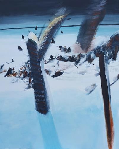 Sebastian Burckhardt, Vögel und Pflöcke im Schnee, Abstraktes, Fantasie, Gegenwartskunst