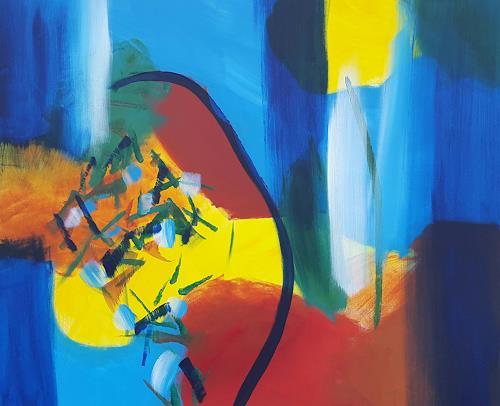 Sebastian Burckhardt, Rhapsodie in Blau, Fantasie, Abstraktes, Gegenwartskunst