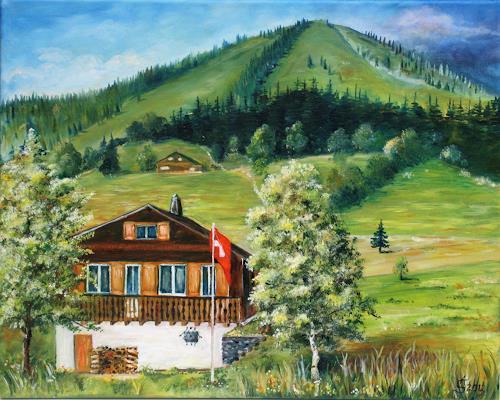 Anett Struensee, Hüsli in Amden, Bauten: Haus, Landschaft: Berge, Naturalismus