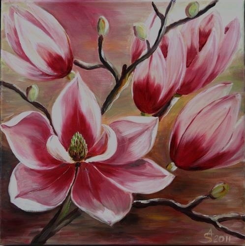 Anett Struensee, Magnolien, Pflanzen: Blumen, Dekoratives