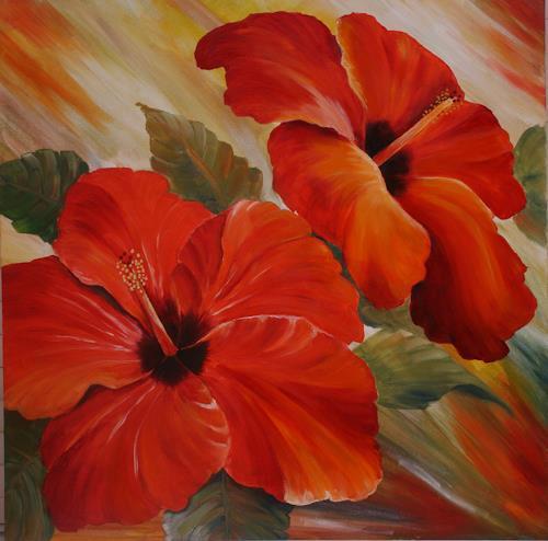 Anett Struensee, Hibiskus (gerahmt), Pflanzen: Blumen, Dekoratives, Naturalismus