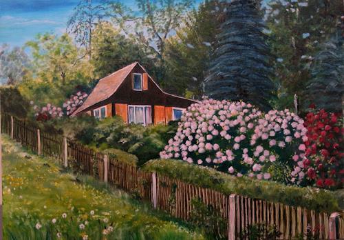 Anett Struensee, Kriebstein, Landschaft: Frühling, Naturalismus, Expressionismus