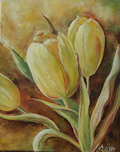 Anett Struensee, gelbe Tulpen, Pflanzen: Blumen, Naturalismus