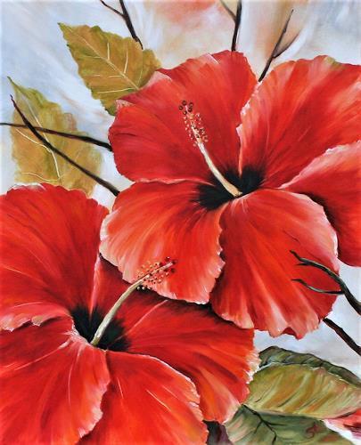 Anett Struensee, Hibiskus, Natur, Pflanzen: Blumen, Naturalismus, Expressionismus