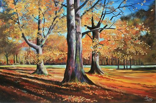 Anett Struensee, Goldene Zeit, Landschaft: Herbst, Natur: Wald, Naturalismus, Expressionismus