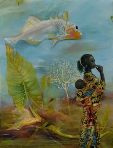 Doris Koutras, Benin 2, Menschen: Frau, Gegenwartskunst, Abstrakter Expressionismus