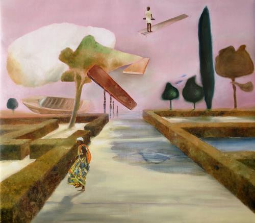 Doris Koutras, Festtag, Fantasie, Postsurrealismus, Abstrakter Expressionismus