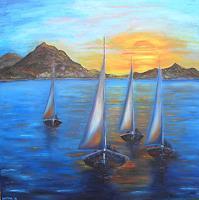Meltem-Gioli-Landschaft-See-Meer-Natur-Wasser-Moderne-Impressionismus-Neo-Impressionismus
