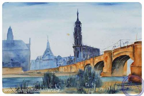 Angelika Hiller, Dresden - Albertbrücke mit Schloßkirche, Diverse Landschaften, Architektur, Gegenwartskunst