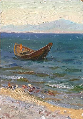 Aleksey Motorin, At the Sea, Natur: Wasser, Expressionismus