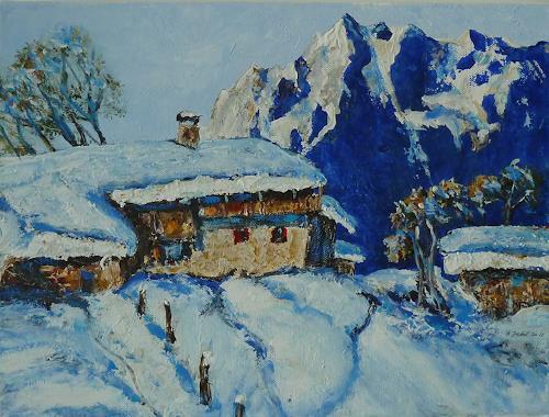 Rainer Jäckel, Hommage an Walde, Landschaft: Winter, Landschaft: Berge, Gegenwartskunst