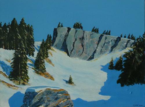 Rainer Jäckel, Hommage an Walde 2, Landschaft: Berge, Landschaft: Winter, Gegenwartskunst