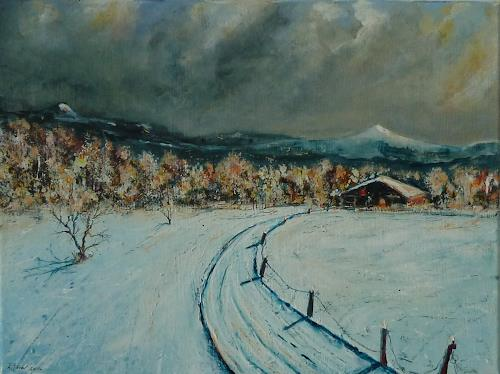 Rainer Jäckel, Wintereis, Landschaft: Berge, Landschaft: Winter, Gegenwartskunst, Expressionismus