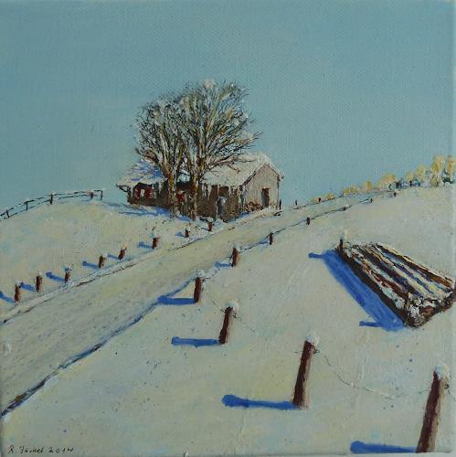 Rainer Jäckel, Winterholz 8, Landschaft: Winter, Landschaft: Berge, Gegenwartskunst, Expressionismus