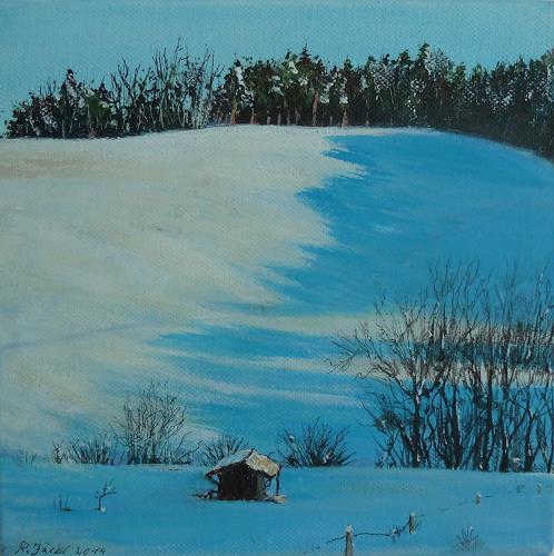 Rainer Jäckel, Winternachmittag, Landschaft: Berge, Landschaft: Winter, Gegenwartskunst, Expressionismus