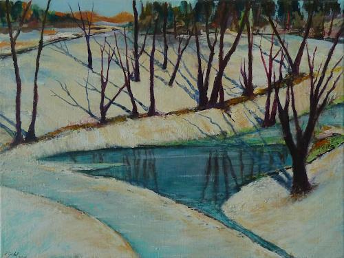 Rainer Jäckel, Winterwald, Landschaft: Ebene, Landschaft: Winter, Gegenwartskunst