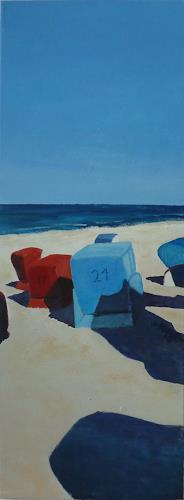 Rainer Jäckel, Ostsee Strandkörbe nachmittags, Landschaft: Strand, Landschaft: Sommer, Konkrete Kunst