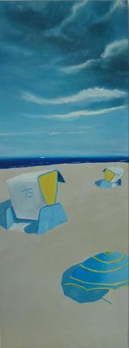 Rainer Jäckel, Ostsee Strandkörbe Mittagssonne, Landschaft: Strand, Landschaft: Sommer, Neo-Expressionismus