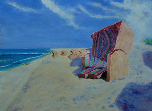Rainer Jäckel, Strandtag, Landschaft: See/Meer, Landschaft: Strand, expressiver Realismus