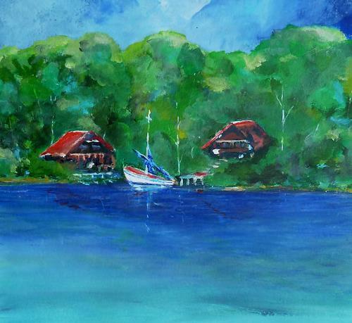 Rainer Jäckel, Hausboot, Landschaft: Sommer, Natur: Wasser, expressiver Realismus