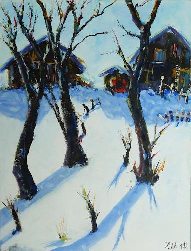 Rainer Jäckel, Wintersonne, Landschaft: Winter, Wohnen: Dorf, Neo-Expressionismus, Expressionismus