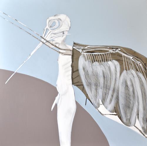 Imke Kreiser, Feathers and a Skull, Mythologie, Tod/Krankheit, Gegenwartskunst, Abstrakter Expressionismus