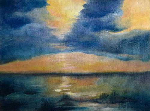Brigitte Spöhr, Wolkenstimmung, Romantik: Sonnenuntergang, Landschaft: See/Meer, Gegenwartskunst