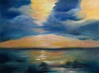 brigitte-spoehr-Romantik-Sonnenuntergang-Landschaft-See-Meer-Gegenwartskunst-Gegenwartskunst