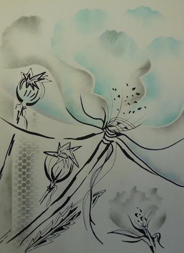 Brigitte Spöhr, Mohnblüten 1, Pflanzen: Blumen, Fantasie, Gegenwartskunst
