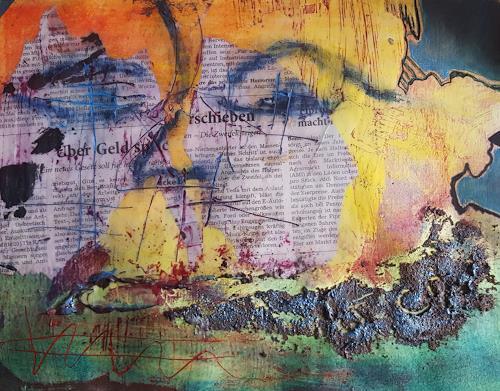 Brigitte Spöhr, Powertex, Wachs Acryl und Öl, Abstraktes, Gegenwartskunst