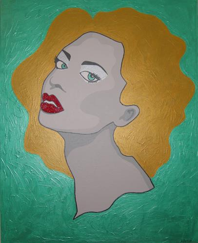 Michaela Zottler, Golden Hair Lady, Menschen: Gesichter, Menschen: Frau, Pop-Art