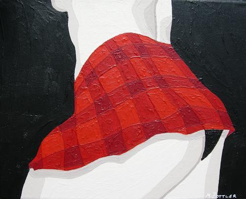Michaela Zottler, Roter Rock, Diverse Erotik, Menschen: Frau, Pop-Art, Abstrakter Expressionismus