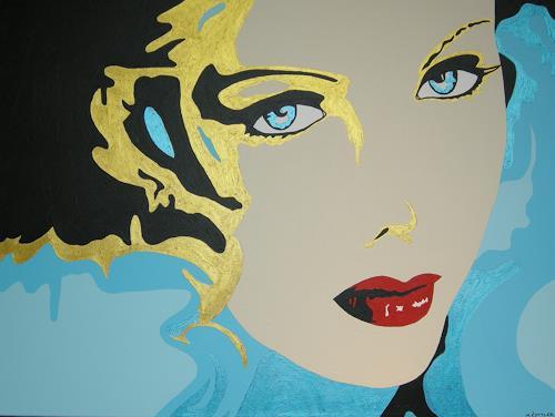 Michaela Zottler, Golden Face, Menschen: Frau, Menschen: Porträt, Pop-Art, Expressionismus